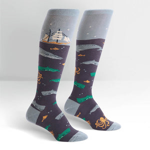 Sea Voyage Ship Knee Socks by Sock It to Me : Cats Like Us