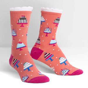 Tiers of Joy Cake Crew Socks by Sock It to Me : Cats Like Us