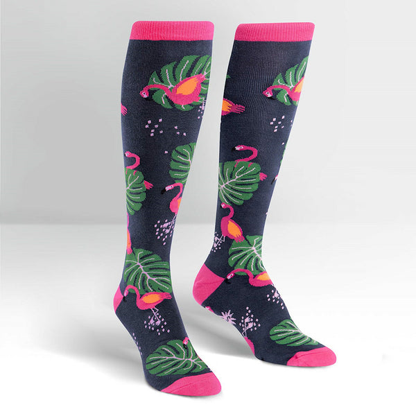 Tropical Flamingo Knee Socks by Sock It to Me : Cats Like Us