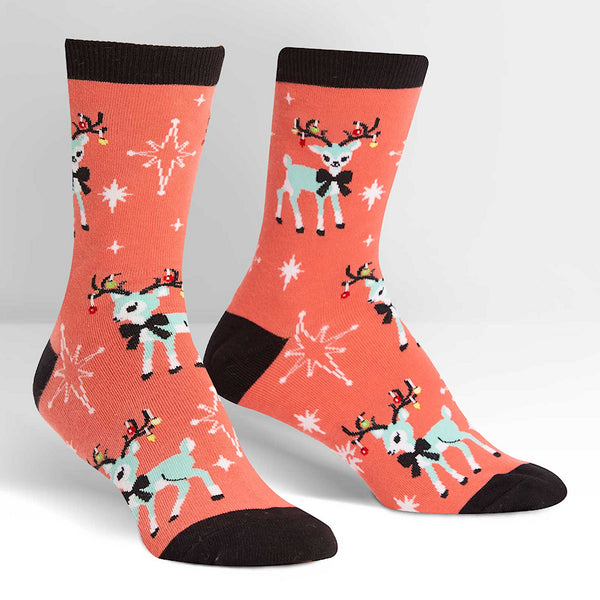 With Bells On Deer Crew Socks