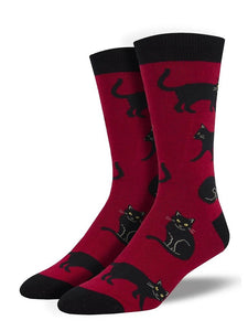 Black Cat Socks-Red