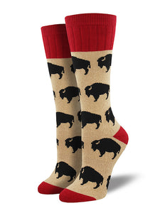 Buffalo Bison Toasty Wms Socks by SockSmith : Cats Like Us