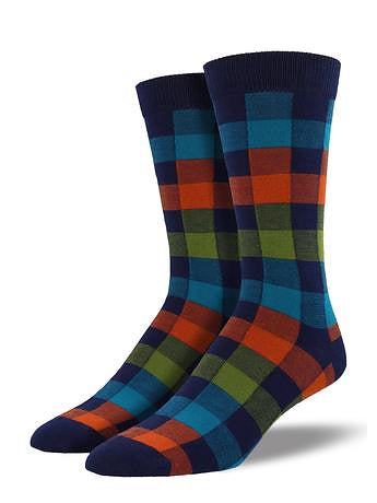 Navy Plaid Socks