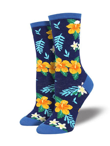 Wmns Aloha Floral Socks - Cats Like Us