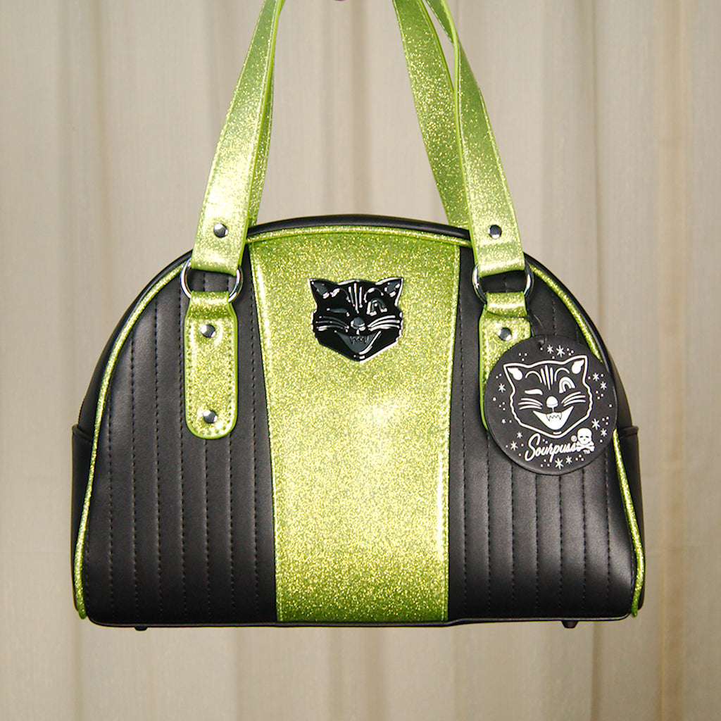 Black Cat Tuck & Roll Handbag by Sourpuss Clothing - Cats Like Us