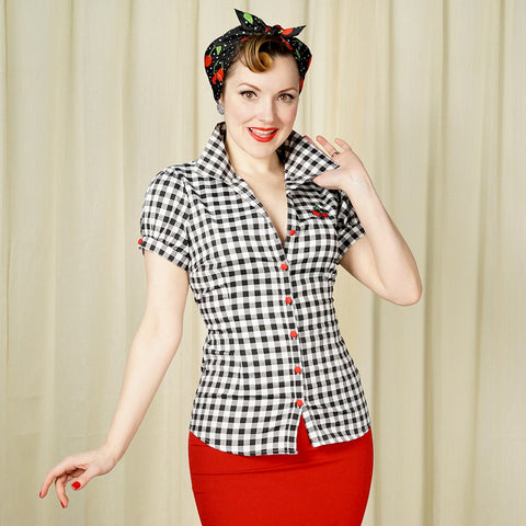 Gingham Cherry Top Shirt - Cats Like Us