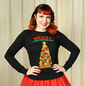 Merry Crustmas Pizza Sweater by Sourpuss Clothing : Cats Like Us