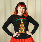 Sourpuss Clothing Merry Crustmas Pizza Sweater