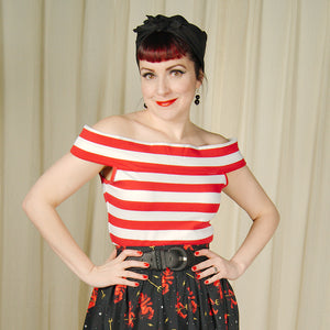 Red and White Sandy Top by Sourpuss Clothing : Cats Like Us