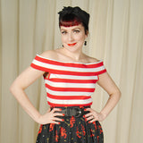 Sourpuss Clothing Red and White Sandy Top