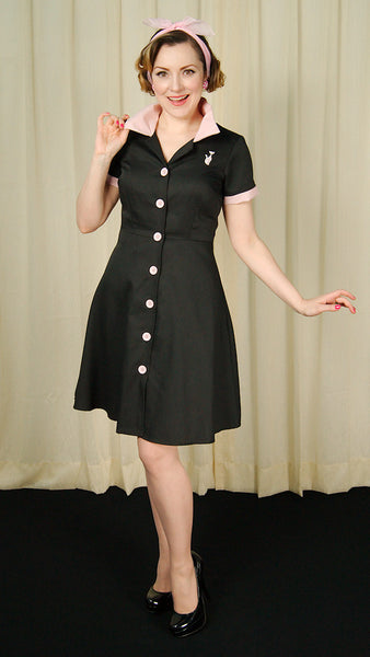 Black Ava Kitty House Dress by Steady Clothing - Cats Like Us