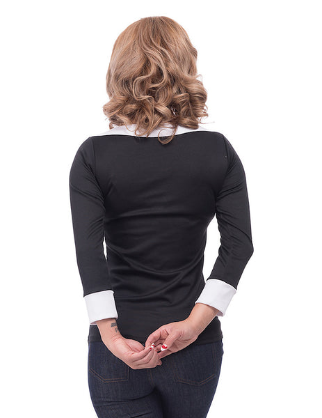 Steady Clothing Black Bow Boatneck Top for sale at Cats Like Us - 3