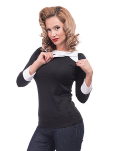 Steady Clothing Black Bow Boatneck Top for sale at Cats Like Us - 1