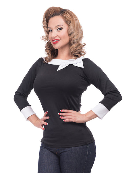 Black Bow Boatneck Top by Steady Clothing - Cats Like Us