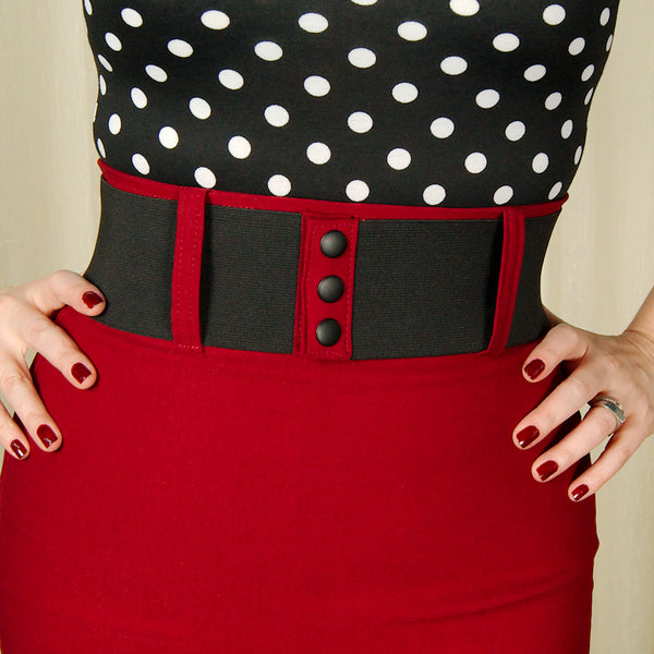 Steady Clothing Burgundy Wiggle Skirt with Belt for sale at Cats Like Us - 6