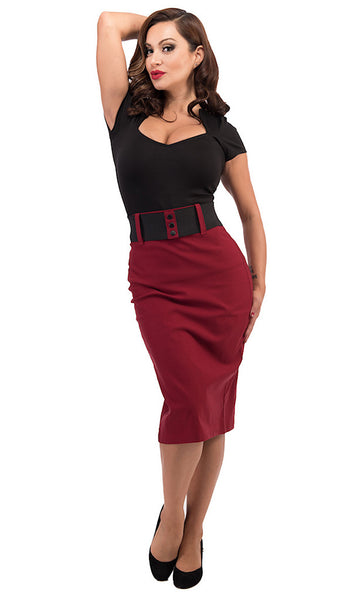 Steady Clothing Burgundy Wiggle Skirt with Belt for sale at Cats Like Us - 2