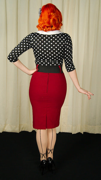Steady Clothing Burgundy Wiggle Skirt with Belt for sale at Cats Like Us - 5