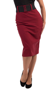Steady Clothing Burgundy Wiggle Skirt with Belt for sale at Cats Like Us - 1