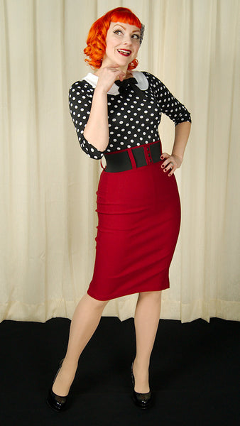 Steady Clothing Burgundy Wiggle Skirt with Belt for sale at Cats Like Us - 4