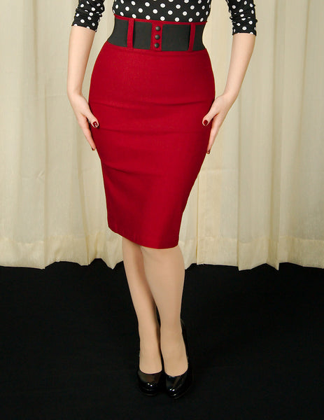 Steady Clothing Burgundy Wiggle Skirt with Belt for sale at Cats Like Us - 3