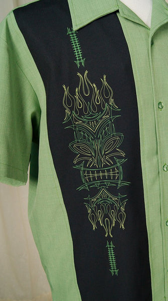 Green Tiki Pinstripe Shirt - Cats Like Us