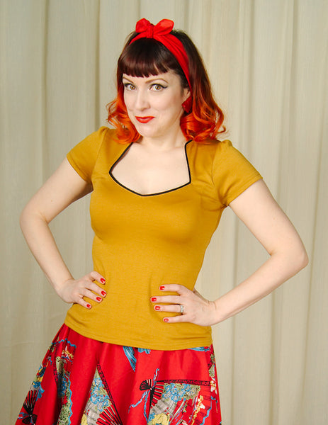 Mustard Piped Sexy Sophia Top by Steady Clothing : Cats Like Us