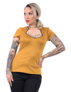 Mustard Piped Sexy Sophia Top - Cats Like Us