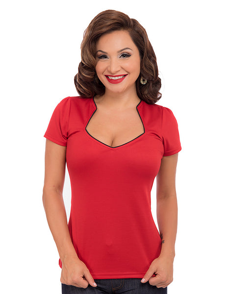 Red Piped Sexy Sophia Top by Steady Clothing : Cats Like Us