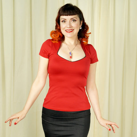 Red Piped Sexy Sophia Top - Cats Like Us