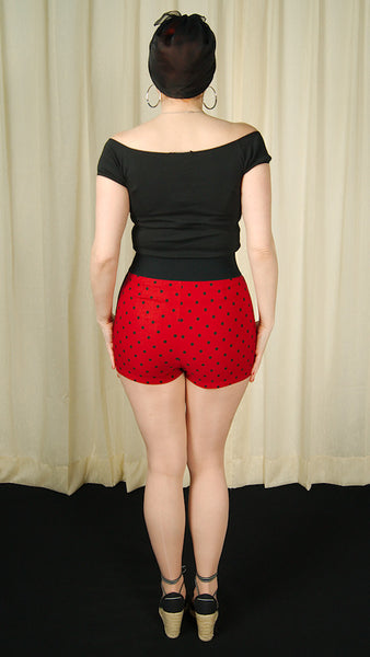 Steady Clothing Red Polka Dot Bombshell Shorts for sale at Cats Like Us - 6