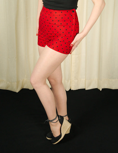Steady Clothing Red Polka Dot Bombshell Shorts for sale at Cats Like Us - 5