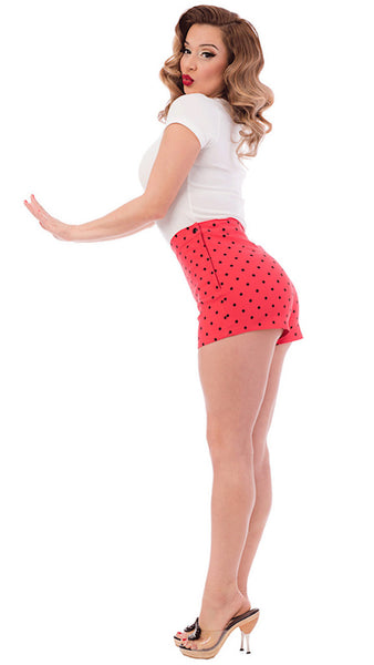 Steady Clothing Red Polka Dot Bombshell Shorts for sale at Cats Like Us - 9