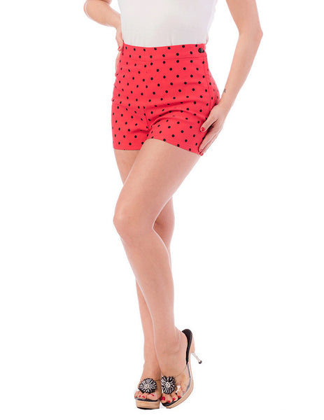 Steady Clothing Red Polka Dot Bombshell Shorts for sale at Cats Like Us - 7