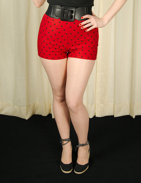 Steady Clothing Red Polka Dot Bombshell Shorts for sale at Cats Like Us - 1
