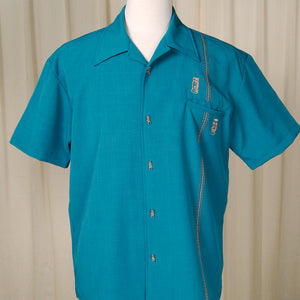 Teal Tiki Retro Stitch Shirt