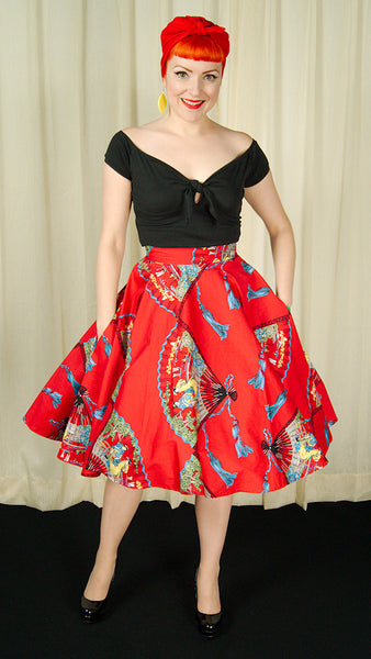 Red Fans Circle Skirt by Trashy Diva : Cats Like Us
