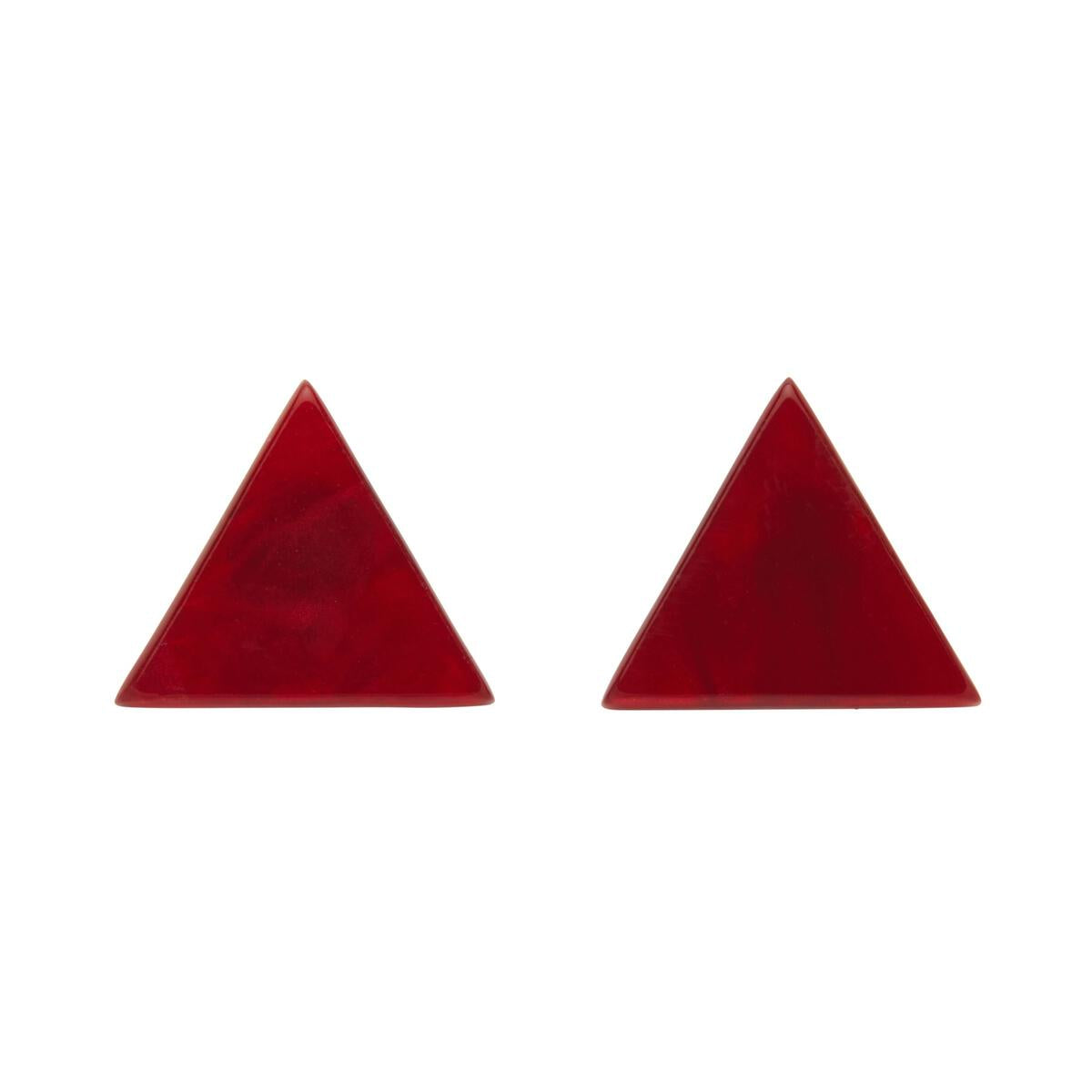 Red Essential Triangle Earrings