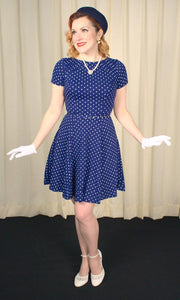 Navy Polka Dot Swing Dress - Cats Like Us