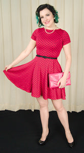 Raspberry Polka Dot Swing Dress