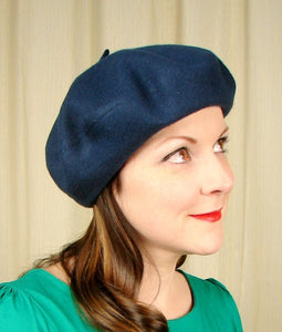 Navy Wool Beret Hat by Village Hat Shop