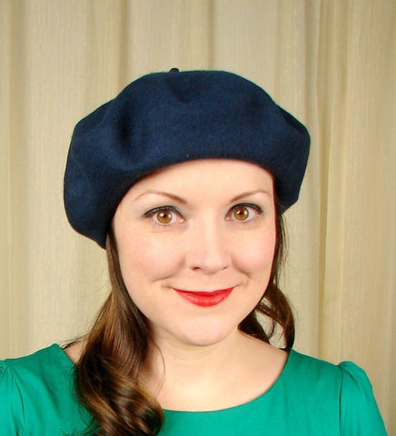Navy Wool Beret Hat by Village Hat Shop : Cats Like Us