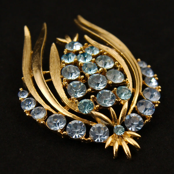Blue Rhinstone Tulip Brooch Pin by Vintage Collection by Cats Like Us : Cats Like Us