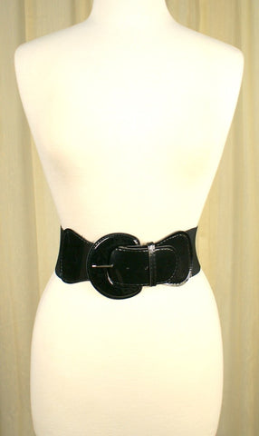 Black Patent Elastic Cinch Belt - Cats Like Us