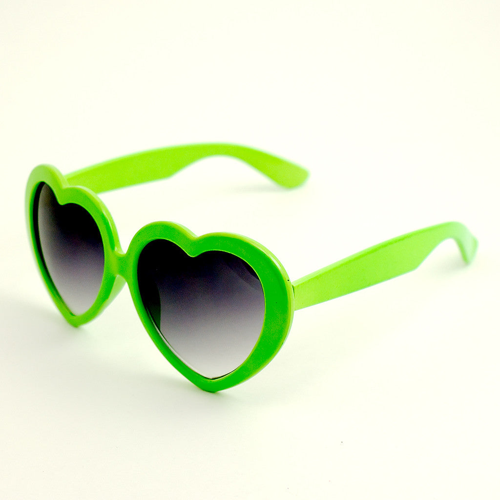 Lime Heart Shaped Sunglasses by Viva Dulce Marina