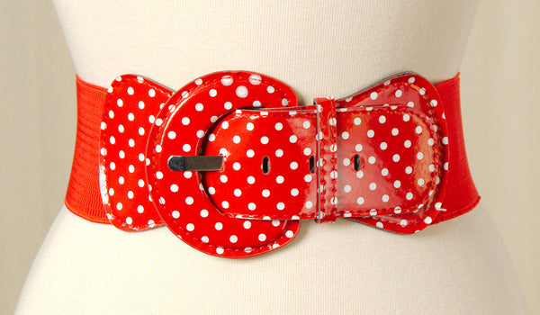 Viva Dulce Marina Red Polka Dot Cinch Belt for sale at Cats Like Us - 3