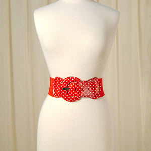 Viva Dulce Marina Red Polka Dot Cinch Belt for sale at Cats Like Us - 1