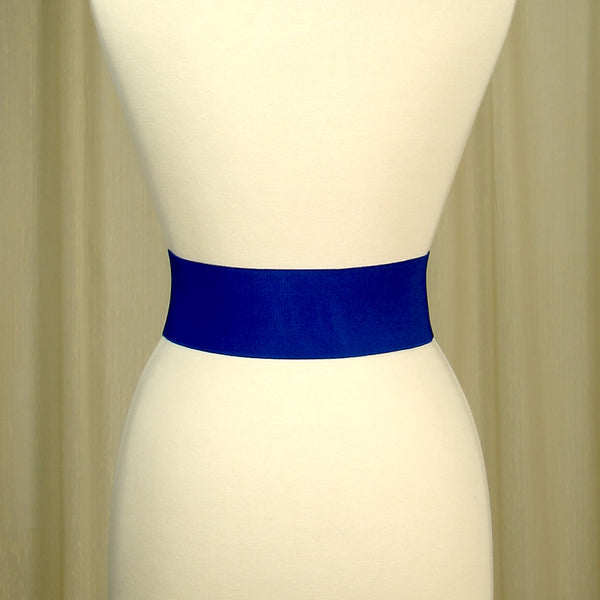 Viva Dulce Marina Royal Blue Elastic Cinch Belt for sale at Cats Like Us - 2