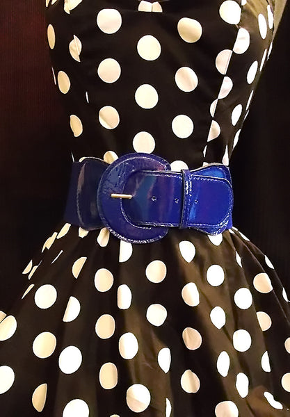 Viva Dulce Marina Royal Blue Elastic Cinch Belt for sale at Cats Like Us - 5