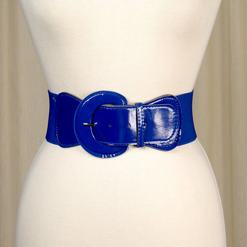 Viva Dulce Marina Royal Blue Elastic Cinch Belt for sale at Cats Like Us - 1
