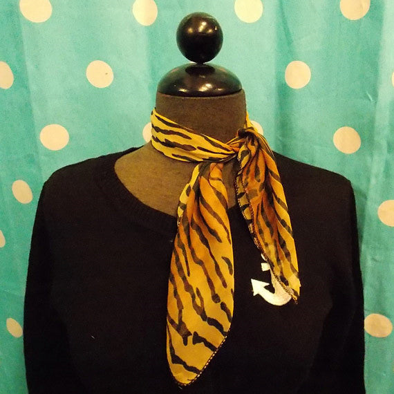 Viva Dulce Marina Tiger 50s Neck Scarf for sale at Cats Like Us - 2